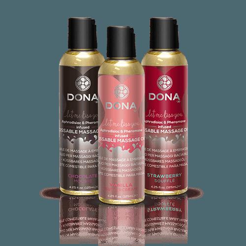 Dona Kissable Massage Oil - Pheromone Infused Bottles