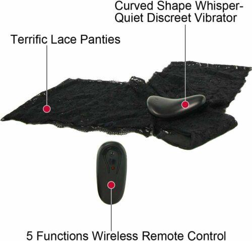 Secrets Plus Size Vibe Lace Boy Shorts & Remote Black