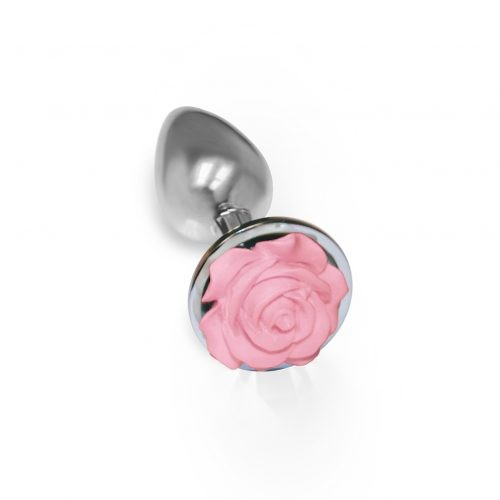 Stainless Steel Pink Rose Anal Plug