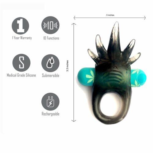 Ziggy Pot Leaf Vibrating Erection Enhancer Ring Specs