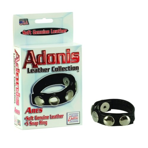 California Exotics Leather Multi-Snap Cock Ring Box and Ring