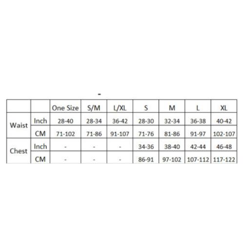 Male power size chart